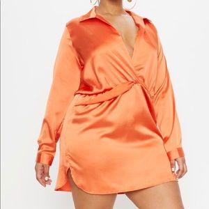 Pretty Little Thing Twist Front Silky Shirt Dress